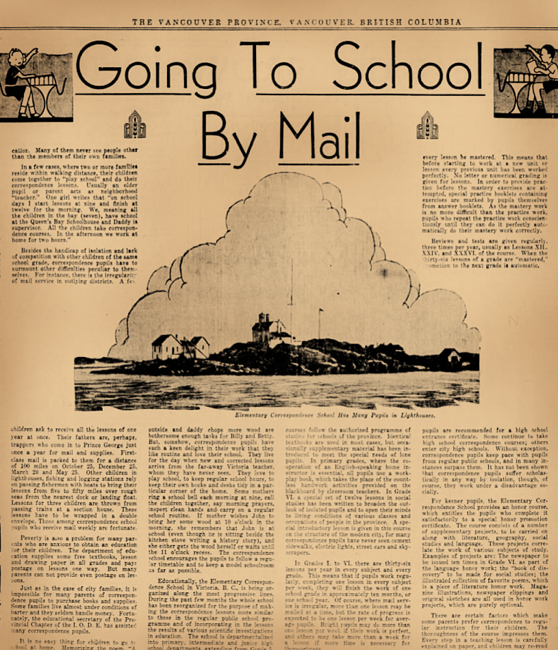 going to school by mail, newspaper article 1934